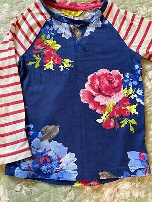 Joules Girls Floral Print T-shirt Top Age 3-4