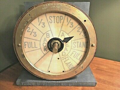Vintage Ship Engine Telegraph Order with Bell Sound Nautical Talegraph Wood Base