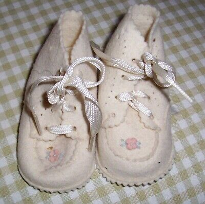Vintage Felt Baby Shoes - Minty!  1950's  Belonged to Seller as a Baby