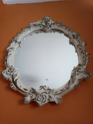 Antique French Style Oval White and Gold Ornate Wall Mirror Baroque Alabaster