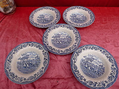 5 Beautiful, Old Soup Plate __ Myotts Country Lief __ England