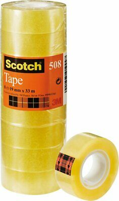 Scotch ruban adhésif 508, Transparent, 19 mm X 33 m, Lot de 8