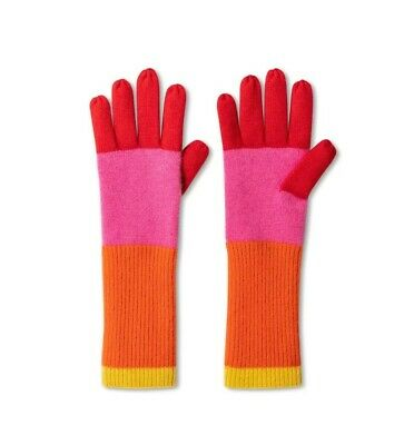 Isaac Mizrahi For Target NWT Womens Colorblock Gloves Pink Orange 100% Cashmere