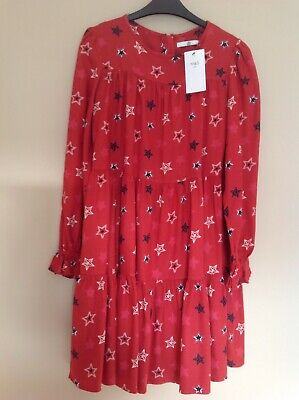 Bnwt  Marks And Spencer Girls Rust Long Sleeve Smock Dress, Age 13-14Yrs