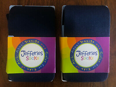 2 pairs Jefferies Socks Little Girls Solid Tights, Cotton Blend, Navy, Size 6-8