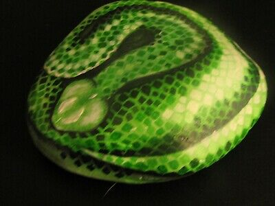 Green Snake hand painted realistic 3D garden art river rock decor 7x5.5 inches