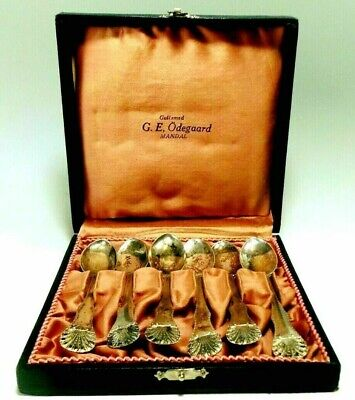 Norwegian Norway Jacob Tostrup 925S 'Dronningmønster' Boxed Demitasse Spoons