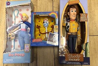 Disney Store Bo Peep Talking Action Figure Woody And Forky Interactive Bundle