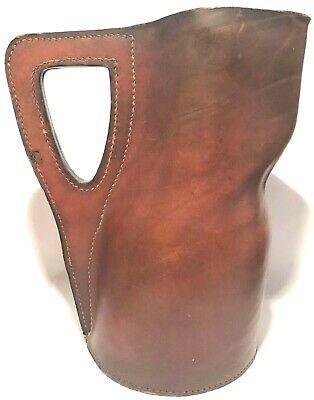 English 20Th Century Stitched Molded Leather Pitcher Jug Vessel Coat Of Arms