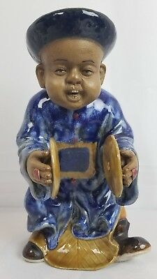 Hand Made And Painted Clay Chinese Figurine Musician Cymbals