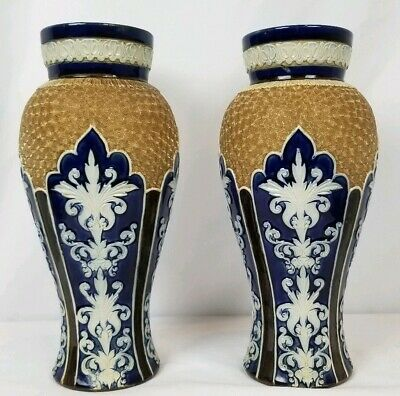 "Exceptional Pair Antique Royal Doulton Lambeth 11"" Vases"