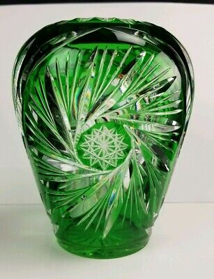 """Antique Green Cut To Clear Glass Vase 6"""""""