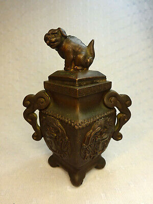 Antique Chinese Qing Bronze covered vase