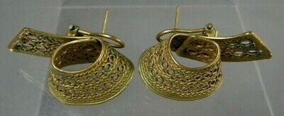 Fine Pre Columbian STYLE Tairona Tumbaga Pair Lattice Earrings ca. 20th c.