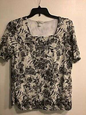 CHRISTOPHER & BANKS Womens Black And White Blouse Shirt Size Large EUC