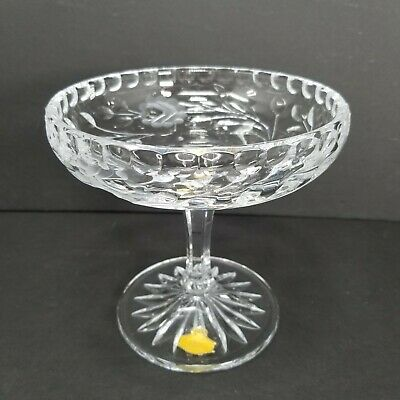 VTG Germany Crystal Pedestal Compote Bowl Footed Scalloped Dish Etched Roses