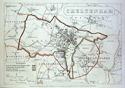 CHELTENHAM, GLOUCESTERSHIRE, Street plan Original antique map 1868