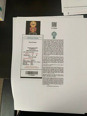 4 Guns And Roses Tickets, Tuesday July 21st 2020, Fenway Park