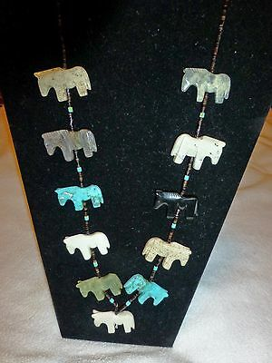 Authentic ZUNI Hand Carved Horse Fetish Necklace NEW! USA!