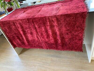 1930s Chenille Throw 1920s Red Silk Blend Tablecloth Bed Cover