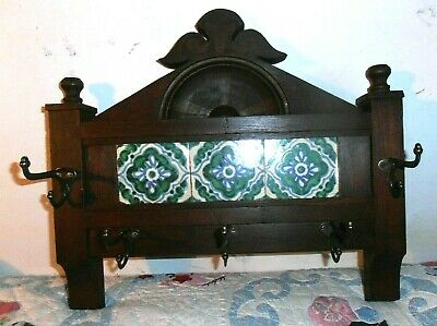 ANTIQUE CARVED wooden Victorian HAT COAT RACK with tiles