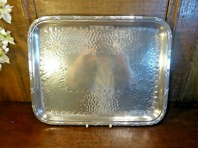 VGC Silver Plated ARTS & CRAFTS style HAMMERED TRAY with RIBBON BORDER 12""