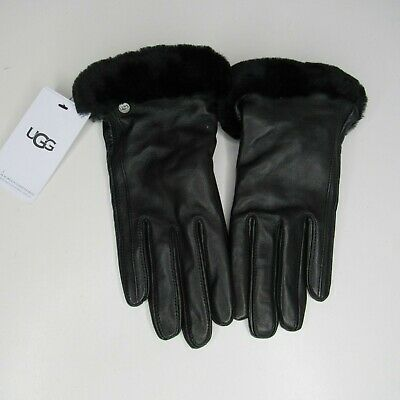 Ugg Classic Leather  Shorty Leather Tech Gloves Black Size M