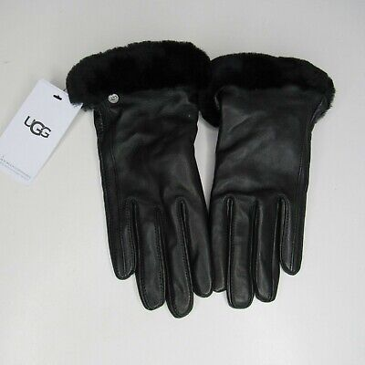 Ugg Classic Leather  Shorty Leather Tech Gloves All Black