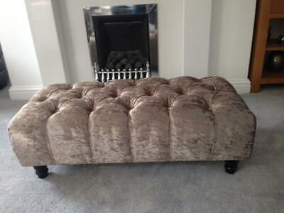 Diamonds CHESTERFIELD design Crushed Velvet with Wooden legs Pouffe / FOOTSTOOL