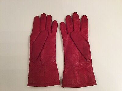 Vtg Womens Isotoner By Aris Red 100% Leather/lined Gloves Sz 7 1/2