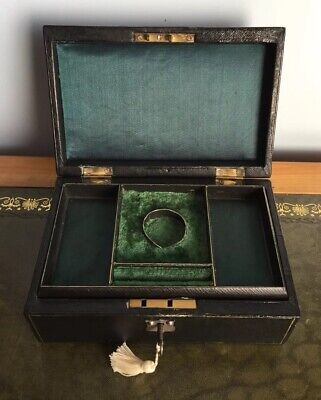 Antique 19th Century Victorian Black Leather Two Tier Jewellery Box With Key