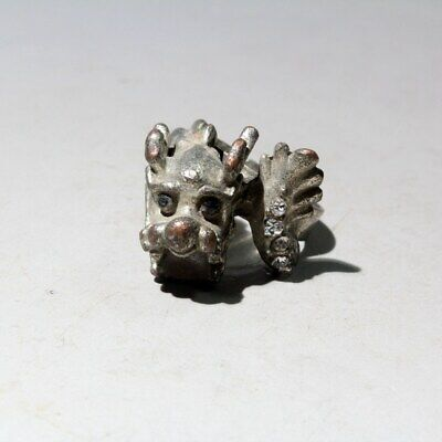 Collectable China Miao Silver Mosaic Crystal Hand-Carved Dragon Interesting Ring