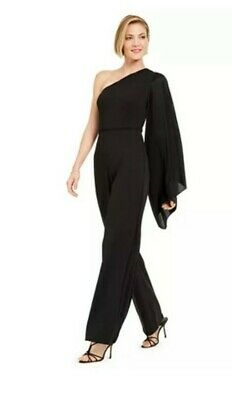 Adrianna Papell Black One Shoulder Jumpsuit - Size 18 BNWT RRP £190