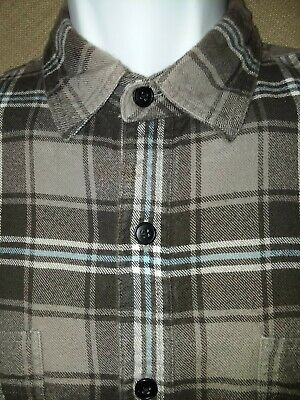 J.CREW Mens Flannel Button Front Shirt Brown/Tan Blue Plaid Long Slv Cotton XL