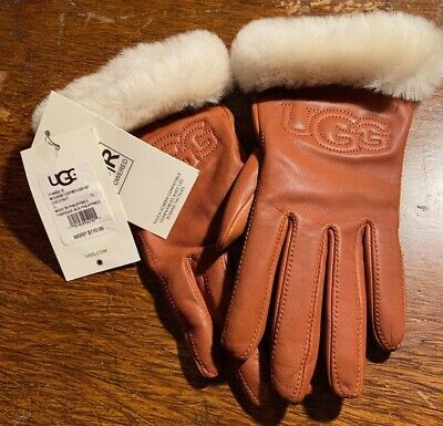 Ugg Classic Leather Logo Gloves Chestnut Brown  Small #17440 New With Tags