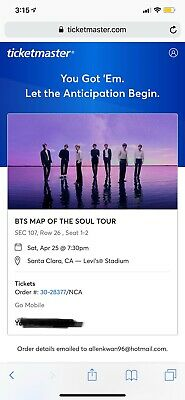 BTS Map Of The Soul Tour Two Tickets Front Row SEC 107 Row 26 1-2 Santa Clara