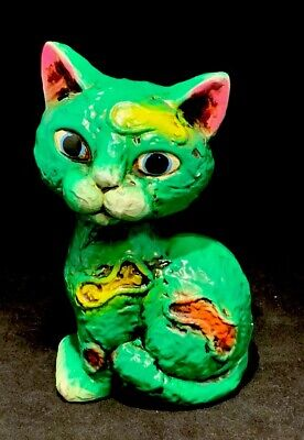 Vintage 60's Maria Pia By Anart 5th Ave. Green Cat Kitten Paper Mache Coin Bank