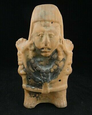 "Ancient Mayan Pre-Columbian Pottery Figure, 550-950 A.D.  8 3/8"" tall"