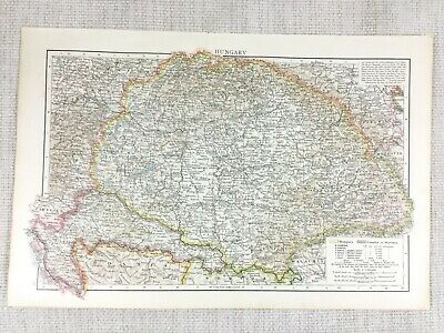 1898 Antique Map of Hungary Croatia Slavonia Europe Old 19th Century Victorian