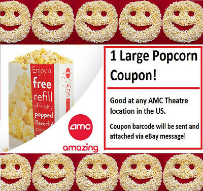 1x Emailed LARGE AMC POPCORN Movie Theater Promo Voucher Exp=12/31/20
