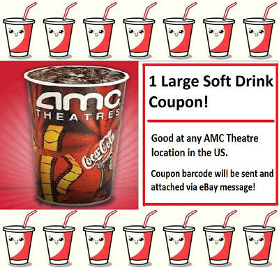 1x Emailed LARGE AMC SOFT DRINK/POP Movie Theater Voucher Exp=12/31/20