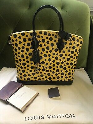 Auth Limited Ed Louis Vuitton Lockit Yellow Dots Yayoi Kusama Vernis Bag EUC