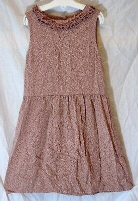 Girls Next Dusky Pink Grey Ditsy Floral Ruffled Soft Viscose Dress Age 8 Years