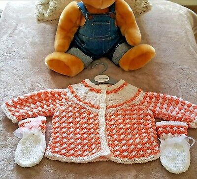 BRAND NEW - Hand Knitted Baby Matinee Coat & Matching Mittens Age 0 - 6 Months