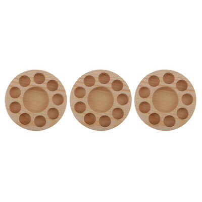3x Essential Oils Displaying Rack Round Pine Wood Stand Holder Tray for 10Bottle