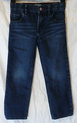 Boys Gap Dark Blue Whiskered Denim Adjustable Waist Straight Jeans Age 5 Years