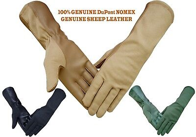 NOMEX DuPont LEATHER TACTICAL PILOT FLYERS FIRE RESISTANCE GLOVES TAN BLACK GREE