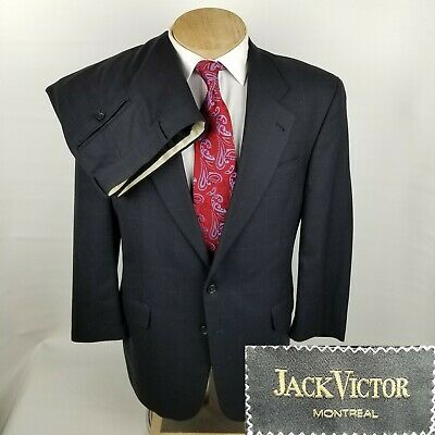 Jack Victor Montreal Mens Suit 42R Blue Windowpane 2 Button 2 Piece Wool 37x29.5