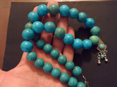 Huge Rare Antique Old Genuine Egyptian Natural Turquoise Bead Necklace