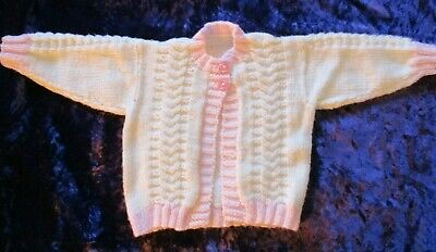 """Hand Knitted Baby Girls Cardigan 18"""" (Cream & Pink Colour)"""